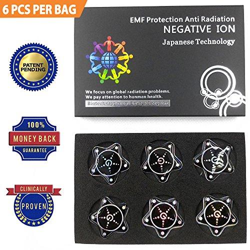 CROWNSTARQI EMF Schutz Tesla Technologie: EMF Resorption von Handy, WiFi, Laptop - Negative ionen Generator, Anti - Strahlung Schild, EMR - Blocker gerät neutralisierer Patch (Star 6pcs) -
