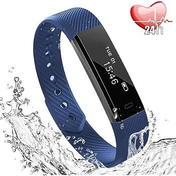 Fitness Tracker Cardiofrequenzimetro da Polso, Activity Tracker Pedometro Bracciale Intelligente Nuoto impermeabile IP67/ Contapassi/Contacalorie e avviso Sedentarietà per Android e iOS-Blu