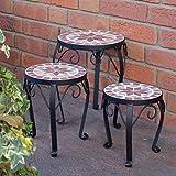 Blumenhocker 3er Set Mosaik rund Garten Blumenständer Metall Terrasse Pflanzenständer Keramik Pflanzenhocker (3er Set)