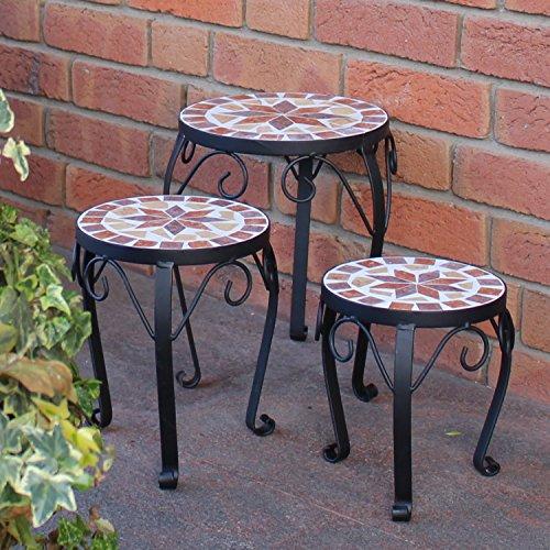 Plant Stands–Set of 3Mosaic Round Garden Patio Plant Stand Ceramic Flower Stand Metal Plant Stand