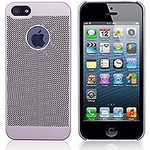 Apple iPhone 5, 5 s y SE, Tapa de protección premium iProtect, efecto rejilla con corte para el logo - rosaoro
