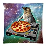 NBQQXO Hipster DJ Cat Pizza Cat Galaxy Pizza Cat 18x18 Creative Fashion Cotton Linen Square Decorative Throw Pillow Cover