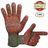 Grillhandschuhe 500 ℃ Wärme und Schnittschutz Camouflage Oven Grill Handschuhe mit erweiterten Schutz, interne wasserdichte Schicht für Grill, Kochen, Backen, 2 Handschuhe von KONVINIT