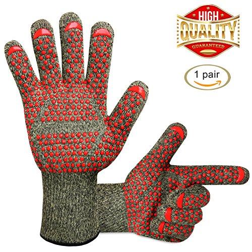 Grillhandschuhehitzebeständigbiszu500°C, BBQ Handschuhe, Wasserdichte Innenschicht für Grill Kochen, Backen oder kaminhandschuhe,...