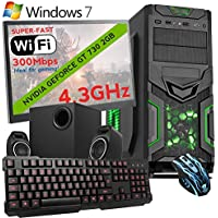 """ULTRA FAST 4.3GHz Quadcore AMD Bundle Gaming Office Home Family PC Computer (Wifi, 8GB RAM, 1TB Hard Drive, Geforce GT 730 2GB Graphics, Windows 10 Home 64-Bit, Gaming Keyboard and Mouse, 21.5"""" Monitor) - 196089"""