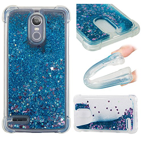 LG STYLO 3 Hülle, LG STYLO 3 Handyhüle, Alfort Weich TPU Schutzhülle Fließendes Glitzern und Spiegel Hand Hülle für LG STYLO 3 (5.7 Zoll) Smartphone Handytasche Case Cover (Blau)