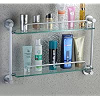 Mmhy spazio alluminio scaffali doppio toilet-bathroom shelf-glass porta make-up telo bagno, bright your life