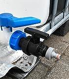 CMTech GmbH Montagetechnik CMS6013594A99 Bocchettone di scarico con rubinetto a sfera in plastica e spina adatta per serbatoi di acqua piovana Gardena, contenitore IBC