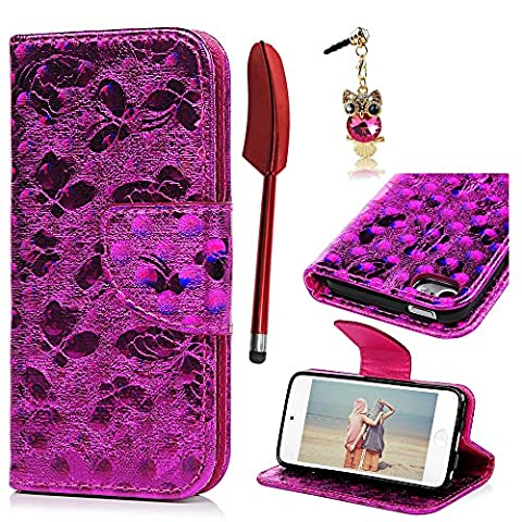 iPod Touch 5 6 Case,Wallet Case 3D Chameleon Effect Special Unique Design Credit Card Slots Wrist Strap Flip Protective Cover for iPod Touch 5 /Touch 6 - Rose