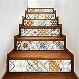 LT&DM Bodenabziehbilder Retro Mosaik-Treppen-Dekoration 3D Renoviert DIY Aufkleber Kunst Herausnehmbar Wasserdicht Selbstklebend Kreativ Treppenaufkleber Wohnkultur Wandbild , D