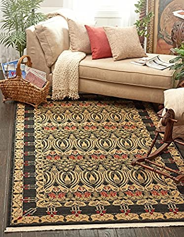 Country Traditional 8-Feet by 11-Feet (8' x 11') Heritage Black Area Rug