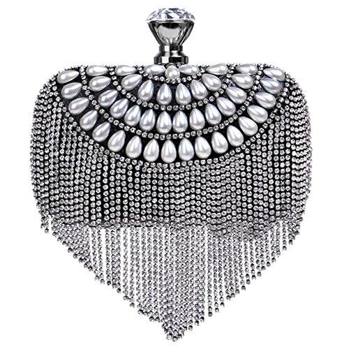 Damen Kristall Abendtasche Quaste Perle Diamant Abendessen Hochzeit Handtasche. 16 X 20 Cm black