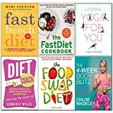 4-Week body blitz, fast beach diet, fastdiet cookbook, yoga for you, diet coach, food swap diet 6 books collection set