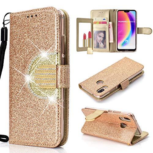 Yobby Glitzer Strass Leder Brieftasche Hülle für Huawei Y6 2018, Huawei Honor 7A Mode Gold Handyhülle mit Spiegel Flip Magnetisch Stand Schutzhülle mit Karte Schlüssel und Handschlaufe