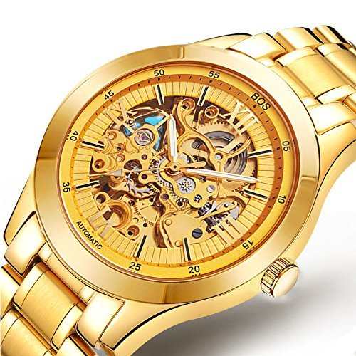 BOS Men's Automatic self-wind mechanical Waterproof Skeleton Gold Watch with Stainless Steel Band 9008