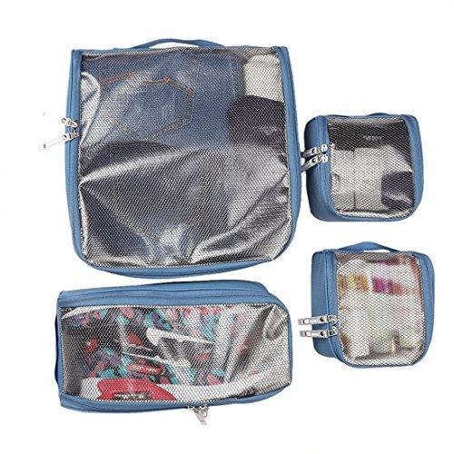 BUBM Kopfhörer 4PCS pakcing Würfel, Travel Organizer Tasche wasserdicht tragbar Gepäck Speicher Sets für Kleidung Cosmetics Socken Unterwäsche Bras Krawatten mit Schuhe Tasche (blau) (Speicher-würfel-set)