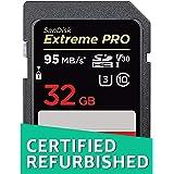 SanDisk Extreme PRO 32 GB SDHC Speicherkarte bis zu 95 MB/Sek, Class 10, U3, V30 (Zertifiziert und Generalüberholt)