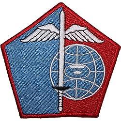 Parche bordado para hombro militar de la marca James Cameron, color rojo y azul, para coser o planchar 9 cm