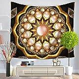 Mandala Hippie Bohemia Rechteck Polyester Deko Multi Verwendungszweck für Badetuch Schutzhülle Bettuch Tischwäsche Decke und Vorhang Wandteppich Wand Kunst Muster Golden 150x130cm