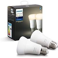 Philips Hue White E27 LED Lampe Doppelpack, dimmbar, warmweißes Licht, steuerbar via App, kompatibel mit Amazon Alexa…