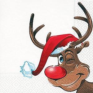 20 Servietten Rudolph / Rentier / Winter / Weihnachten 33x33cm