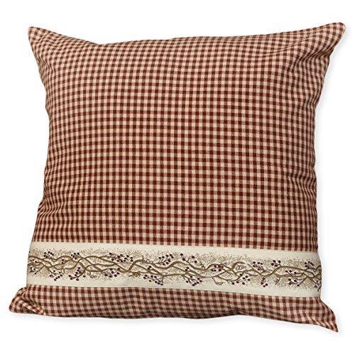 Khaki-seersucker (The Country House Collection Rote Seersucker Karo-Beerenranken 16 x 16 cm Baumwolle Dekoratives Überwurfkissen)
