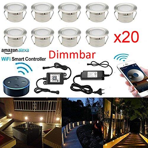 SUBOSI Dimmbar LED Bodeneinbauleuchten Arbeitet mit Alexa,IFTTT,WiFi Wireless Smart Phone Ø45mm IP67 Wasserdicht LED Einbaustrahler Full Kit