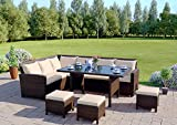 9 Seater Rattan Corner Garden Sofa & Dining Set Furniture Black Brown Dark MixedGrey Outdoor Protective Cover Included (Brown With Light Cushions)