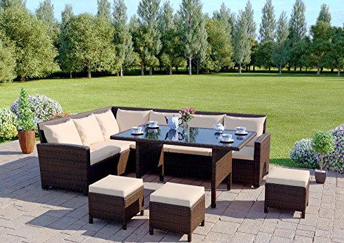 9-Seater-Rattan-Corner-Garden-Sofa-Dining-Set-Furniture-2016-Black-Brown-Dark-MixedGrey
