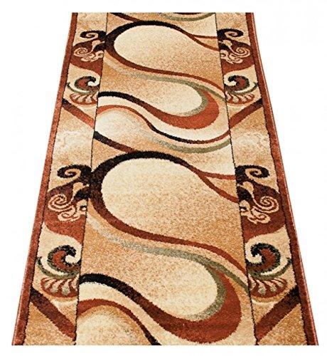 Tapiso tappeto passatoia per corridoio salotto moderno colezione royal - colore crema beige marrone motivo bordatura ornata - migliore qualità - diverse misure s-xxxl 60 x 200 cm