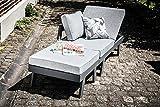 greemotion 128510 Lounge Set Aluminium Panama-Alu Loungeset 3 teilig für Garten & Terrasse-Outdoor Garnitur in Anthrazit & Grau mit 2 Liegen als Eckbank & Hocker, 22,6 x 7,4 x 6,6 cm - 19