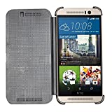 Heartly Dot View Touch Sensative Flip Thin Hard Shell Premium Bumper Back Case Cover For HTC One M9 – Rugged Black