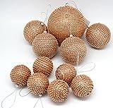 Weihnachtsbaumkugeln Kugeln für Weihnachtsbaum Weihnachten Christbaumkugeln Weihnachtsschmuck Weihnachtskugeln Baumschmuck 11er Set Farbe Kupfer mit Glanz-Partikeln - 1x 11,50cm / 4x 7,5cm / 6x 5,5cm