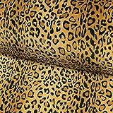 Stoffe Werning Wellness Fleece Leopard braun Kuschelstoff -