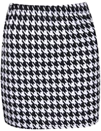 The Home of Fashion Womens Black and White Dogtooth Print Bodycon Mini Skirt