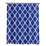 ToHa Duschvorhang Textil Blau Weiß 180x180 cm Mit 12 Haken, Maschinenwaschbar Schimmelresistent Wasserabweisend, Dunkelblau, Marineblau