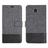 Samsung J3 2017 Etui portefeuille sac en simili-cuir textile couverture Téléphone cas pour les cartes de visite et encore fonction (GRIS)