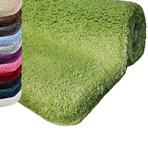Badematte   kuscheliger Hochflor   Rutschfester Badvorleger   viele Größen   zum Set kombinierbar   Öko-Tex 100 Zertifiziert   80x150 cm   Apple Green (grün)