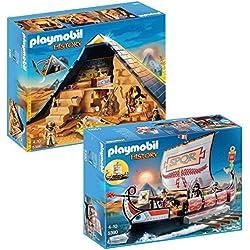 PLAYMOBIL Set 5386 Pirámide del faraón y 5390 Galera romana