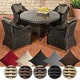 CLP Polyrattan-Sitzgruppe MOA inklusive Polsterauflagen   Garten-Set bestehend aus einem runden Esstisch mit einer pflegeleichten Tischplatte aus Glas und vier Sesseln   In verschiedenen Farben erhältlich Bezugfarbe: Anthrazit, Rattan Farbe schwarz