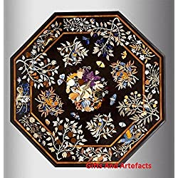 """60""""OCTAGON de mármol negro mesa de comedor Carátula. Diseño de flores por Cottage artesanía"""