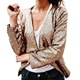 VEMOW Elegante Damen Langarm Solide Pailletten Unregelmäßige Strickjacke Lässig Tägliche Outdoors Tops Vertuschen Mantel(Türkis, EU-44/CN-L)
