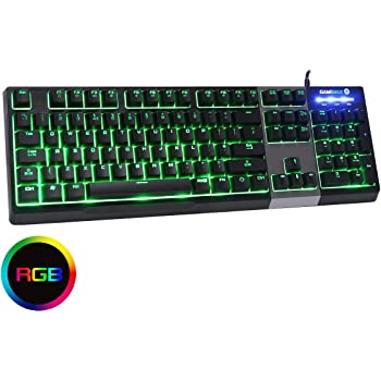 Game Max Click RGB Mechanical Feel Gaming Keyboard, 7 Colour LED Backlight, Anti-Ghosting, Multimedia Functions, Compatible For Windows, USB Connection, UK Layout | Black/Silver
