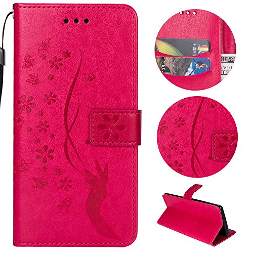 Sycode Galaxy S7 Hülle,Galaxy S7 Case,Galaxy S7 Schutzhülle,Floral Schmetterling Blume Finger Muster Lederhülle Hülle für Samsung Galaxy S7-Rose Red