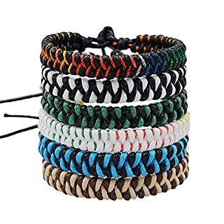 CheersLife Handmade Braided Friendship Bracelet 6Pcs for Men Women Colorful Woven Wrist Ankle Adjustable