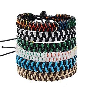 Cheerslife 6 Stücke Geflochtene Freundschaftsbänder für Herren Damen Party Camping Zubehör Geschenk Mehrfarbig für Handgelenk Bunte Handgefertigt Gewebte Armband für Jungen Mädchen