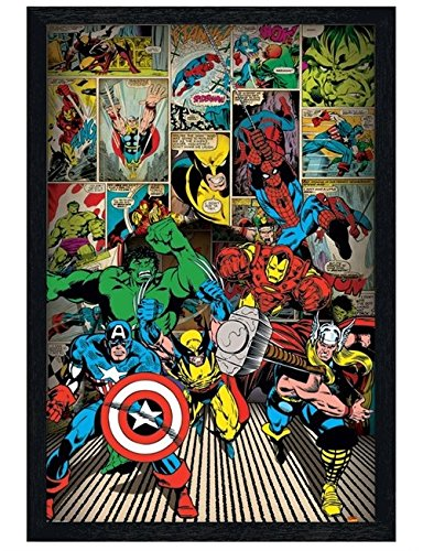 Kinder Schwarz Holz Poster, gerahmt von eine Collage aus Lieblings Marvel Superhelden 61x 91,5cm
