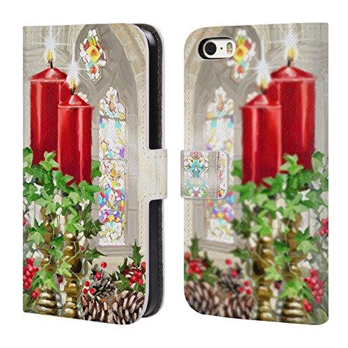 Ufficiale The Macneil Studio Ghirlanda Decorazioni Natalizie Cover a portafoglio in pelle per Apple iPhone 6 Plus / 6s Plus Candele Chiesa