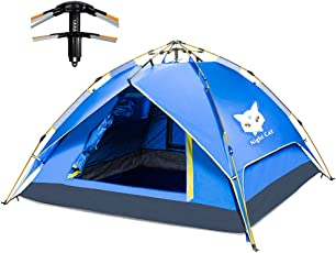 Zelt für 2-4 Personen, Night Cat Wasserdicht Stoff wurfzelt für Pavillon Camping Automatik hydraulisch Frühling Einrichtung Doppelschicht-Zelt mit Tragetasche