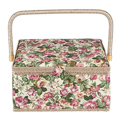 Caja de costura, tela floral impreso cesta de costura, caja/organizador/organizador para el hogar, 30,5 x 23 x 15,5 cm